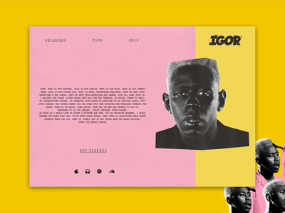 Landing page concept for Tylers new album //Daily UI igor tyler the creator landing page ui  ux design 003 daily ui