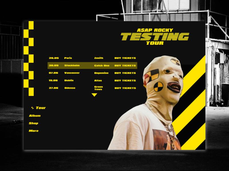 A$AP ROCKY TESTING TOUR testing asap rocky hiphop rapper rap design webdesign website ui  ux design