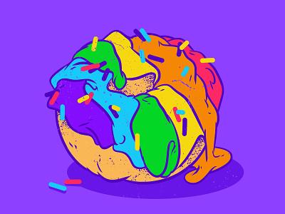 Peace, Love & Donut! love queer art gay pride lgbt community sugar foodporn pop culture illustration pop-art sweet food illustration violet color palette colorful doughnut food donut rainbow igtb pride