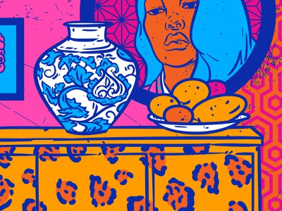 Chine porcelane in kitsch interior china oriental asian girl interior illustration face bohemian colors palette colors colorful pattern design bright color combinations vivid colors popart portrait illustration kitsch color palette design pop-art illustration