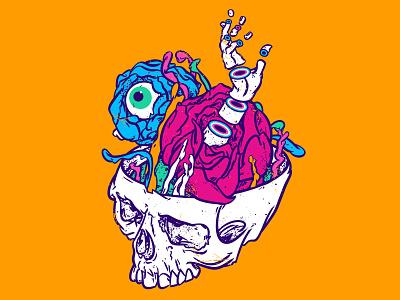 The skull of Yoric skulls dark bazaar humorous illustration humour color palette pop-art illustraion imagination mystery ideas creative art yellow trendy trend pop colors lowbrow pop surrealism pop art skull art skull