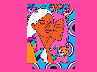 Siamese twins lowbrow art digital illustration crazy pattern female faces women in illustration mystery rainbow fashion illustration crazy floral flowers darky bizarre psychedelic boho illustration art color palette pop surrealism pop-art illustration