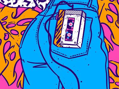 Baby one more time blue women britney spears music cassette player digital illustration clothing palm girl teenager old school female jeans pink pop culture 00s walkman color palette pop-art illustration