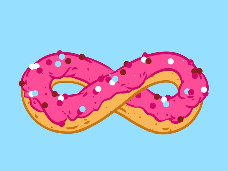 Infinity donut sweets blue pink pastel colors infinity pop culture cute illustration yami kawaii breakfast pop foodies sugar tasty sweet pop art food illustration food doughnut donut illustration