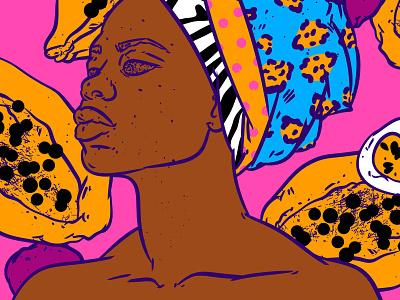 African impression rainbow yellow papaya black woman women in illustration pattern art female illustration bright colors festival bohemian pink summer fruits digital illustration face pop color palette pop-art illustration