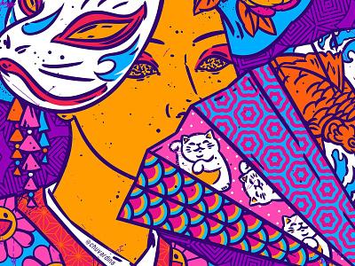 New age of Madame Butterfly vivid colors patterns pop surrealism bizarre fancy illustration chuvardina fashion illustration japanese culture kimono geisha female pattern art oriental japan color palette pop art illustration