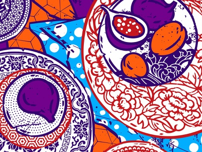 Chinese pottery digital illustration orange violet ceramic colours asia mix-matched foodie fruitsartclub pottery pattern a day table dressing china ornaments food illustration blue red mismatched patterns chinese porcelain illustration art illustration