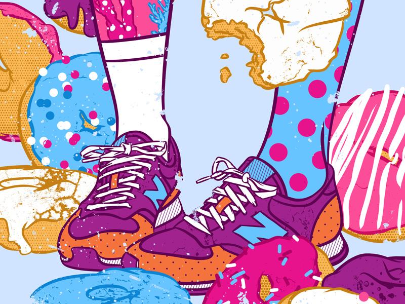 Don't step over donuts sweet kawaii artwork doughnut color palette pop culture food illustration shoes illustration art pop art foodie donuts sneakers new balance