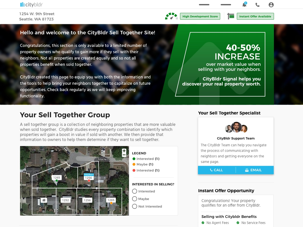 Citybldr Landingpage   Claim user experience design real estate uxui real estate tech