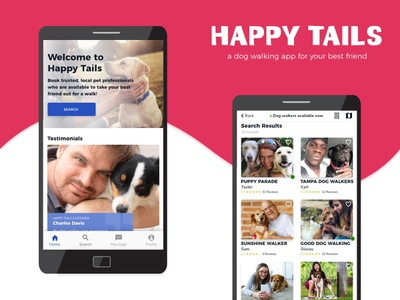 Happy Tails - a dog walking app for your best friend mockup user center design user interface user experience