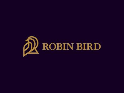 Letter R and robin bird logo