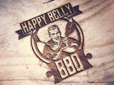 Happy Belly BBQ - Restaurant logo (concept) wood mockup logo concept happy belly bbq restaurant logo logo design logo