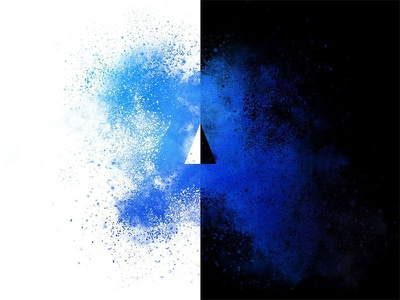 "Explosion Disintegration Effect of letter ""A"" black and white a letter a effect disintegration explosion"