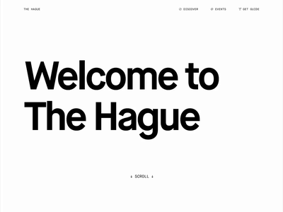 Welcome to The Hague - School project sketch building architecture map scrolling university monochrome white black clean desktop landing page ui ux page home homepage minimal animation website