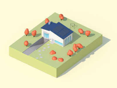 Home Sweet Home scenery cute autumn 360 pavement road swing trees model solar low-poly low poly garden home house cinema4d c4d lowpoly clean animation