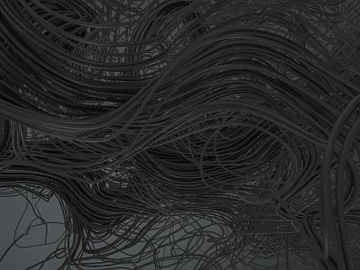 Brain-Dead disorder chaos fibre connection thread string fiber death sad hair wires wire dark minimal experiment art cinema 4d cinema4d abstract c4d