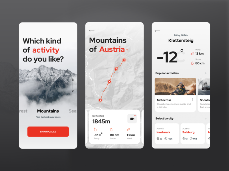 Application to plan your trips vacation travel app clean ui cards ui snowboarding weather route map photo mountains activity trip home mobile app mobile ui
