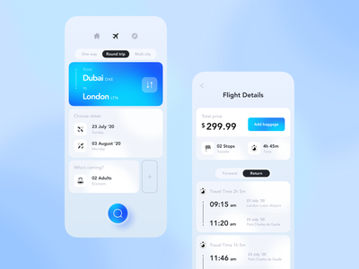 The Concept for the Search Flights App clean ui gradient search ticket flight app mobile
