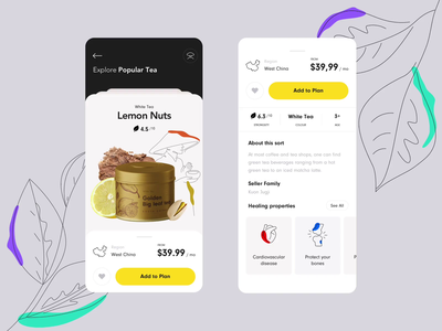 Tea Subscription mobile app 🍵 clean ui app animation home illustration ui mobile