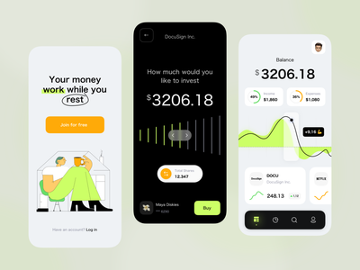 A simple trading app data visualization welcome screen statistics finance login investment home illustration mobile