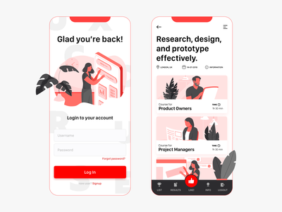 UX Courses login illustration application welcome screen mobile ui ux app