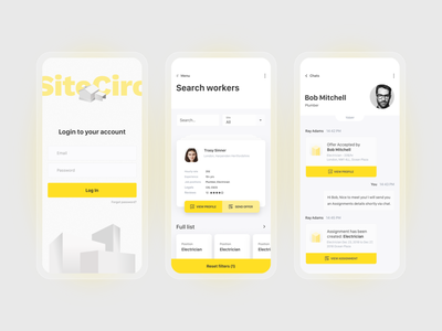 Mobile screens for Startup in construction area. account offer chat filter login screen login form employment worker illustration yellow clean ui minimalism hire job welcome login mobile construction