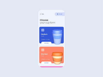 Coffee cup customizer UI after effects cinema 4d c4d 3d cards scroll slider icons animation eco cup list product customization ui mobile