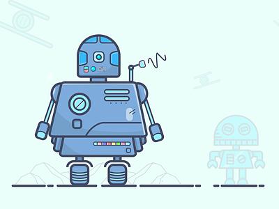 Lil. Bot illustrations robot bot stroke illustraion