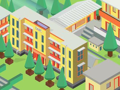 Isometric illustration of my college