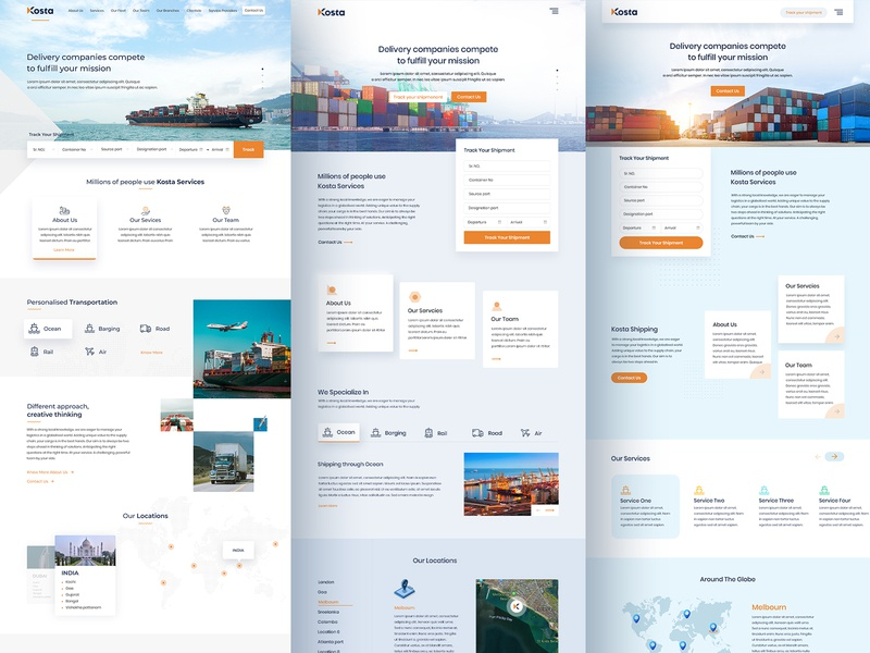 kosta Shipping Project Explorations transportation website concept website design website web shipping management shipping ship
