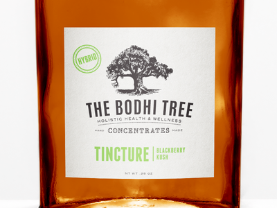The Bodhi Tree Tincture label packaging tincture dispensary bottle 420 cannabis holistic