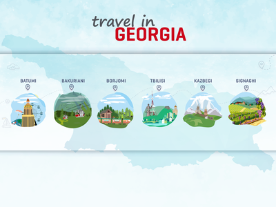 Travel in Georgia Banner tourism traveling nature vector landmark tour map tourist trip adventure illustration summer georgia holiday vacation travel