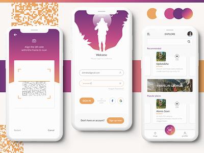 Wanderer App   Branding travelling qrcode app illustration uiux travel tourism georgia ui branding design adventure mobile app