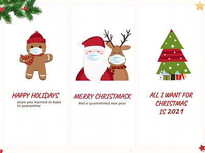 Christmas Cards covid-19 christmas tree gingerbread santa illustration coronavirus christmas card 2021 holidays quarantine christmas