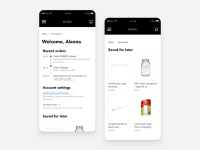Daily UI 006 Profile and Account Settings for Ecommerce