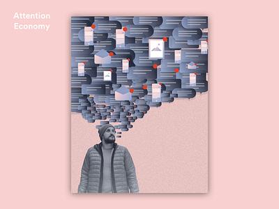 Attention Economy gradient story graphic illustration