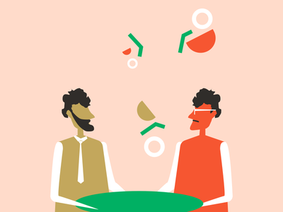 Meet and Greet gradient story graphic illustration