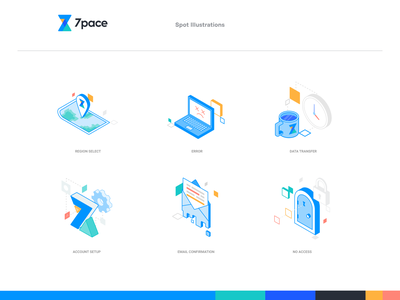 7pace Illustrations design lines flat vector isometric icons branding transfer data error email simple clean interface simple illustrator figma spot illustration isometric illustrations