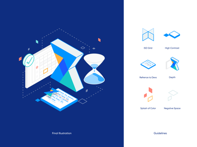 7pace Illustration Guidelines graph charts graphic calendar isometric 7pace developer code hourglass vector clean figma icons design branding simple illustration