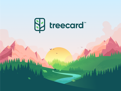 TreeCard Illustration tree nature sunset mountains illustration treecard