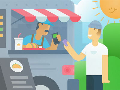 Food Truck people truck outside outdoors illustration payment card taco food truck