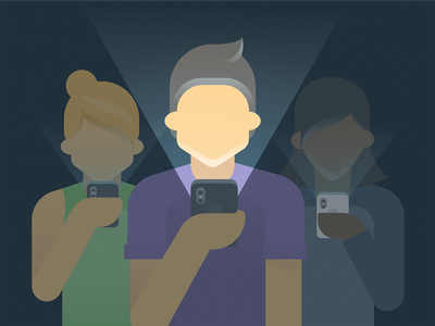 Phone Addicts iphone cellphone light person phones people grain design simple clean illustration