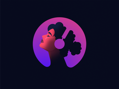 Woman Listening to Music person people focus music headphones woman grain figma simple clean illustration