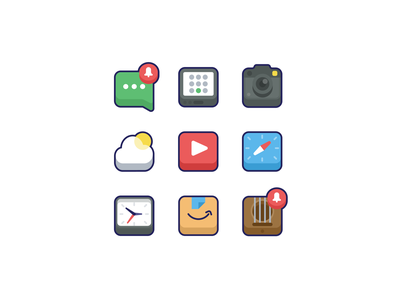 App Icons 2 camera messages apps app icons app iconography icon set icons icon simple clean
