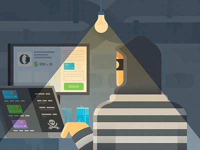 Criminal Hacker crime hacking basement computer grain simple clean illustration person people criminal hacker