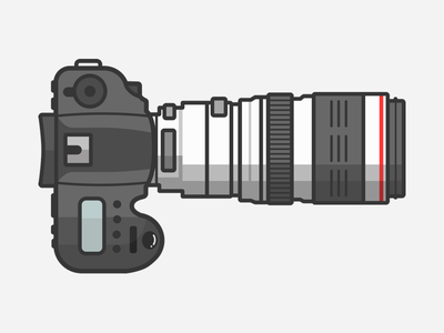 Lets Shoot! dribbble lines line simple white grey illustration camera flat 5d lens canon