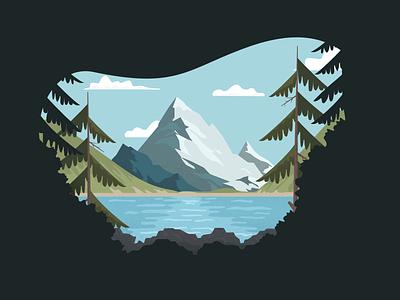 Mountains simple illustration grain