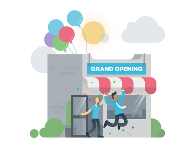 Grand Opening store flat design clean simple illustration