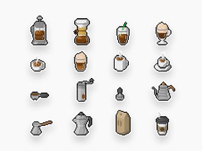 Pixel Coffee Icons iconset icons pixelart pixelated pixel coffee