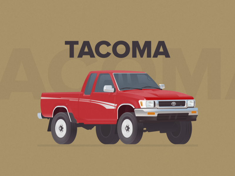 Toyota Tacoma off road red figma illustration truck car tacoma toyota